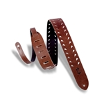 Levy   M12TTV-BRN  Tiger Tooth Punch Out Premier Guitar Strap Brown